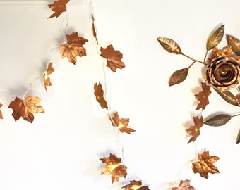 10 / 20 LED Copper leaf fairy lights, ivy light garland, string lights, copper ivy, leaf lights
