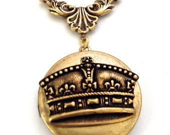 "Vintage Gold Byzantine Royal Crown Locket Necklace, 24"""