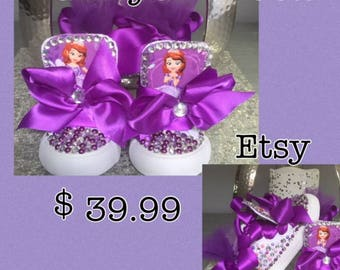 Sofia The First* Inspired*Bling Sneakers* Sofia Kicks* Princess Sofia The First Inspired*Princess Sneakers*Sofia The First Custom Sneakers*
