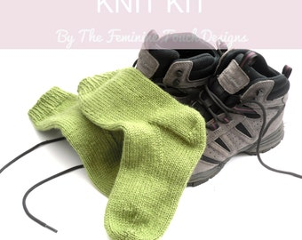 Easy knit walking socks kit DIY kit , Learn to knit socks on DPN's , Full instructions with photos,  socks in 3 sizes , colour choices