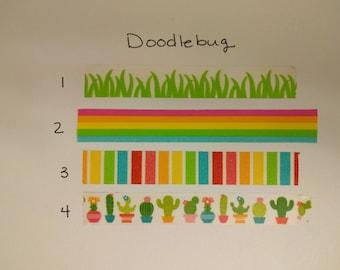 """Doodlebug Washi Tape Samples - 24"""" samples - Pick Your Pattern"""