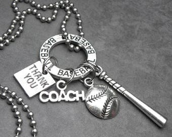 BASEBALL Coach Thank You Charm Necklace or Key Chain Keychain, Coach Gift