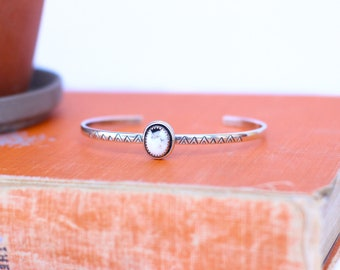 White Buffalo Turquoise Cuff // Stamped Cuff // Made to Order