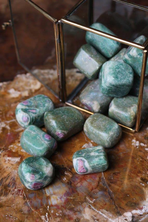 Ruby in Zoisite Tumbled Stones, Ruby Tumbled Stone, Chakra Crystals, Heart Chakra Stone, Pink Chakra Stone, Reiki Stone, Crystal Grid