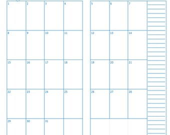 PRINTED Monthly Calendar Perpetual colored, Traveler's Notebook / Fauxdori Insert
