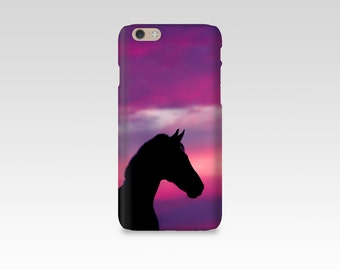 Horse Phone Case, iPhone 7 case, Sunset, Silhouette, Samsung S7, iPhone 6, Samsung S6, iPhone 7 Plus, Gift for Horse Lover, Purple Pink