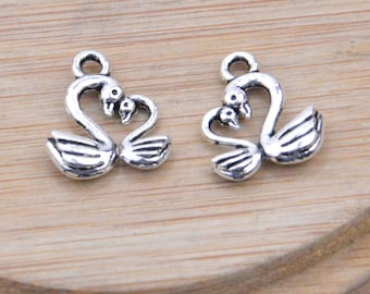 20 Swan Bird Charms, Antique Silver lovebird pendant, zinc alloy Swan lovebirds pendant beads, mini love birds drops 12x15mm