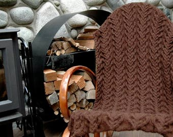 """Throw Blanket/Afghan """"Larch"""" - hand knit with cables in warm natural Royal Alpaca, many colours, many sizes - MADE TO ORDER"""