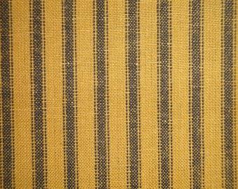 Homespun Ticking Fabric   Mustard And Black Woven Ticking Fabric   Ticking Striped Fabric   Primitive Fabric   Cotton Quilt Fabric