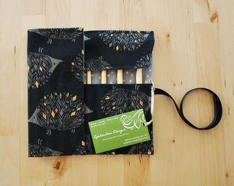Crochet Hook Case / Organizer / Holder - Black Hedgehogs with Gray Metallic Dot Lining