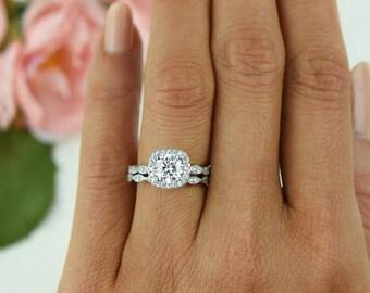 1.25 ctw Halo Wedding Set Vintage Style Bridal Rings Man