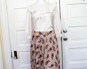 Vintage white paisley peasant skirt