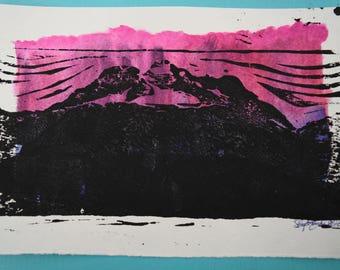 watercolour mountain block print