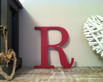"""Decorative Wooden Wall Letter 'R' - Any Colour - Plain Finish - Roman Style - 10"""""""