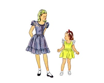 1940s Little Girls Dress Simplicity 2061 Vintage Sewing Pattern Size 4 Breast 23