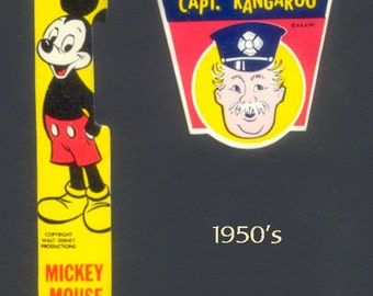 Mickey Mouse and Captain Kangaroo 1950's Flashlight Labels - Collectible, Collage, Decoupage