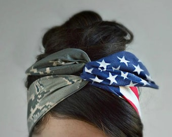 Memorial day, Air Force girlfriend, Air Force bow, flag headband, Tiger stripeCamo Patriotic Dolly bow, American Flag head band,