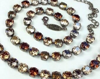 """Swarovski Crystal 8.5mm Necklace   """"Bronzey Browns"""" - Browns, Grays, & Golden Neutrals  - Designer Inspired  FREE SHIPPING"""