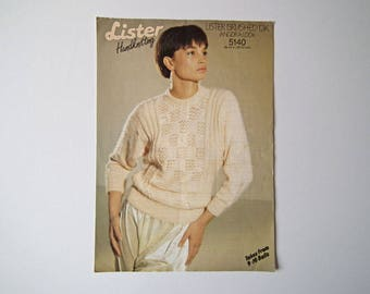 Original Lister 5140 Vintage Knitting Pattern, Brushed DK Lady's Sweater, Handknit Pattern, Size 30-44 inch, 76-112 cm, Long Sleeves, Dolman