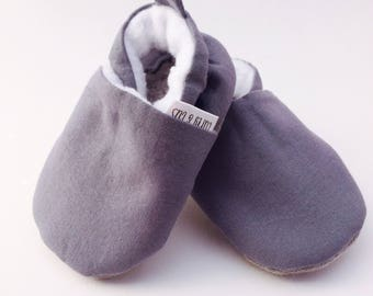 Gray Baby Shoes, Baby Boy Shoes, Soft Soled Baby Shoes, Baby Booties, Baby Moccasins, Crib Shoes, Toddler Slippers, Moccs, Baby Shower