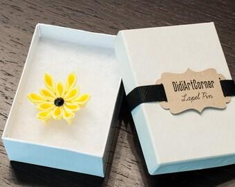Yellow Poinsettia Flower Lapel Pin