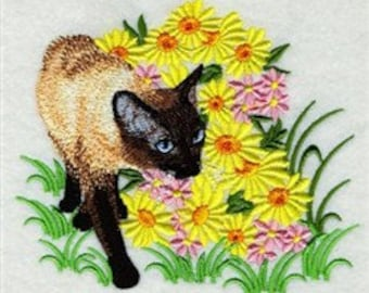 messenger bag - Embroidered canvas messenger / field bag - siamese cat in flowers