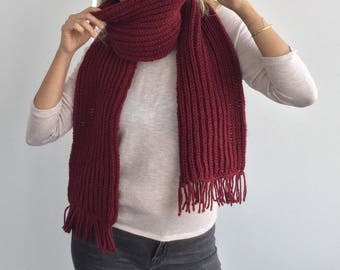 Burgundy red knit scarf, Extra long knitted scarf with fringes in burgundy,  Warm knit scarf