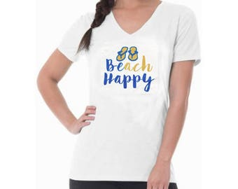 Beach Happy white V-Neck short sleeve T-Shirt, Flip Flops and Beach soft T-shirt, perfect for cruises, beach and vacation - Hand Printed tee