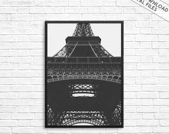 Eiffel Tower print, Black and White Print, Paris Print, Eiffel Tower Photography, Paris Art, Eiffel Tower wall art,Paris poster,Architecture