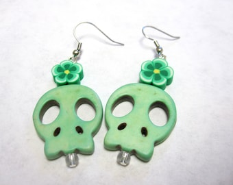 Mint Green Sugar Skull Earrings Day of the Dead Jewelry
