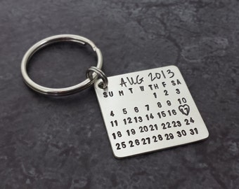 Personalized Calendar Key Chain - Stamped Sterling Silver Calendar - Save the Date Hand Stamped Calendar- Fathers Day - Gifts for Dad