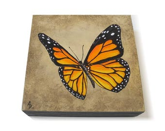 Monarch Butterfly painting 6x6 - original entomology art - orange butterfly art - spring insect painting - pretty spring nursery nature art