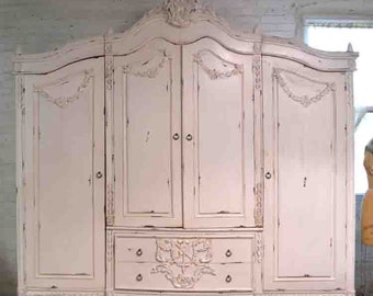 French Armoire Painted Cottage Chic Shabby French Romantic Armoire/  Wardrobe / Media Cabinet AM260