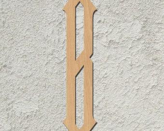 "Single Letter Natural Wood ""Diamond Script"" Monogram Wall Decor"
