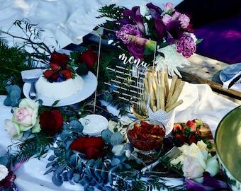 Clear Acrylic Perspex Wedding Menu, Bar, Cocktails, Drinks Sign, Event Menu, Wedding Table Decor