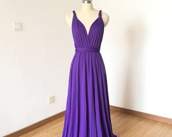 Purple Spandex Long Convertible Bridesmaid Dress
