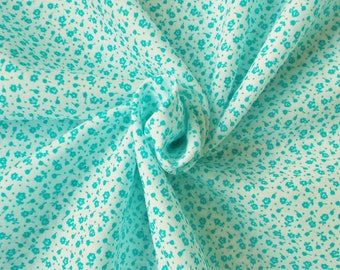 Vintage Polycotton Dress Fabric - 1960's/1970's - Tiny turquoise flowers on a white background - 1 piece - Unused