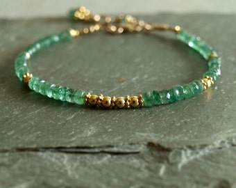 Emerald Bracelet, gold beads, Zambian emeralds, gift for her, emerald gemstone bracelet, women's bracelet, natural real emerald jewelry