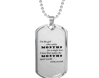 A Single Kiss v2 - Luxury Dog Tag Necklace, Memorial Day, Dog Tag Pendant
