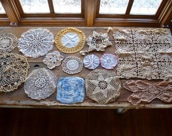 vintage lace doily lot