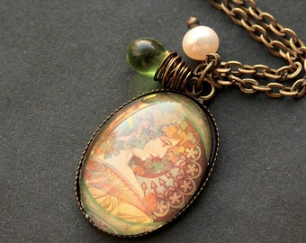 Alphonse Mucha Necklace. Ivy Pendant with Green Teardrop and Pearl. Charm Necklace. Wearable Art Nouveau Jewelry. Handmade Jewelry.