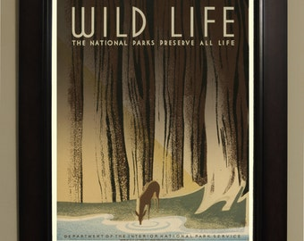 Wild Life National Parks WPA Poster - 3 sizes available, one price.