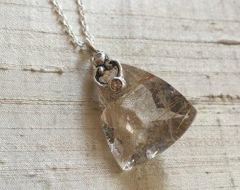 Rutilated Quartz and Champagne Diamonds- Scroll Pendant