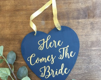 Here Comes The Bride Sign, Rustic Wood Wedding Sign, Navy And Gold Wedding Sign, Ring Bearer Sign, Flower Girl Sign, Modern Wedding Sign
