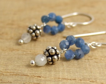 Earrings with Moonstone, Kyanite Quartz and Bali Beads Wire Wrapped to Sterling Silver Earring Wires HE-401