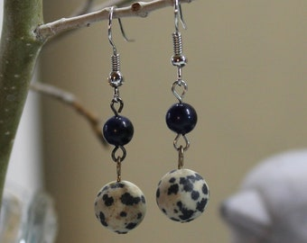 Dalmatian jasper and sodalite beaded earrings