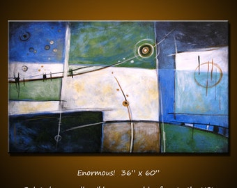 "Original Huge Wall Art Extra Large Modern Abstract blue green painting... 36"" x 60"" ... Divergence, Free US shipping"