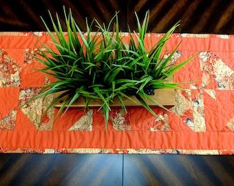 """Handmade Table Runner Japanese garden Fabric  52.5 """" x 16"""""""
