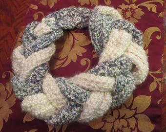 Crochet Braided Scarf, Crochet Braided Collar, Braided Neck Warmer, crochet Neck Warmer,