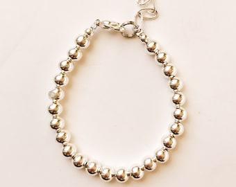 Silver 5mm Beaded Bracelet